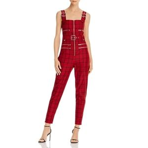 Who Wore What Plaid Moto Overalls Jumpsuit Small